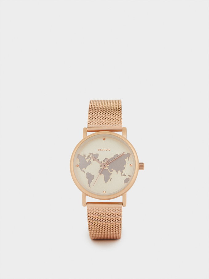 Watch With Steel Strap And World Map Face, Orange, hi-res