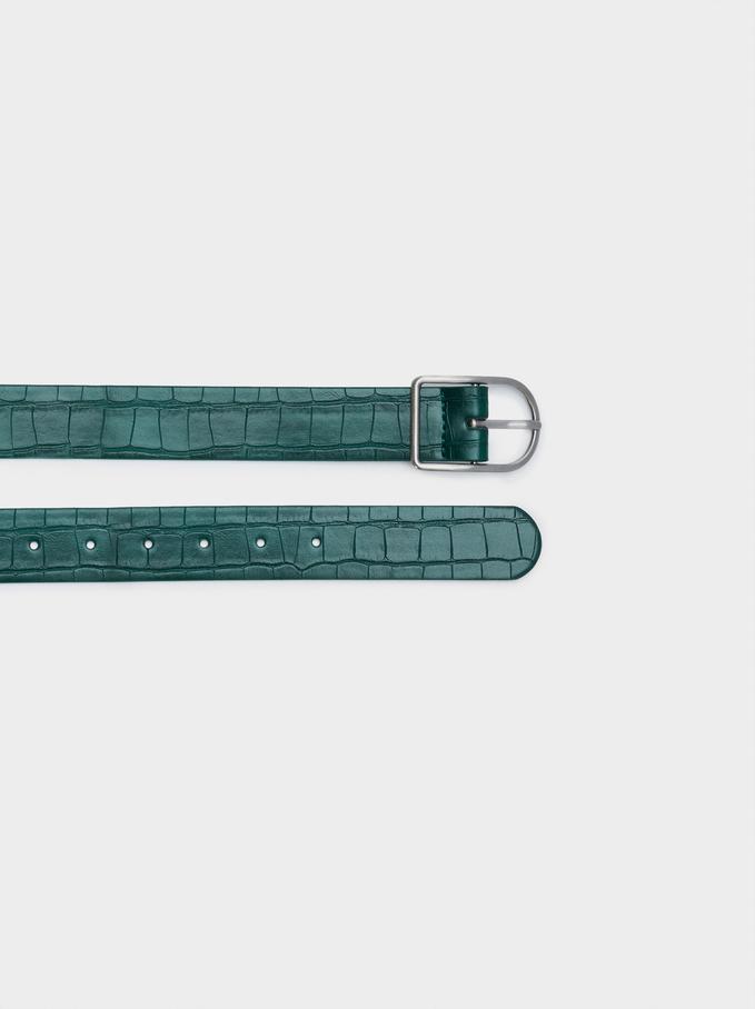 Animal Embossed Belt, Green, hi-res