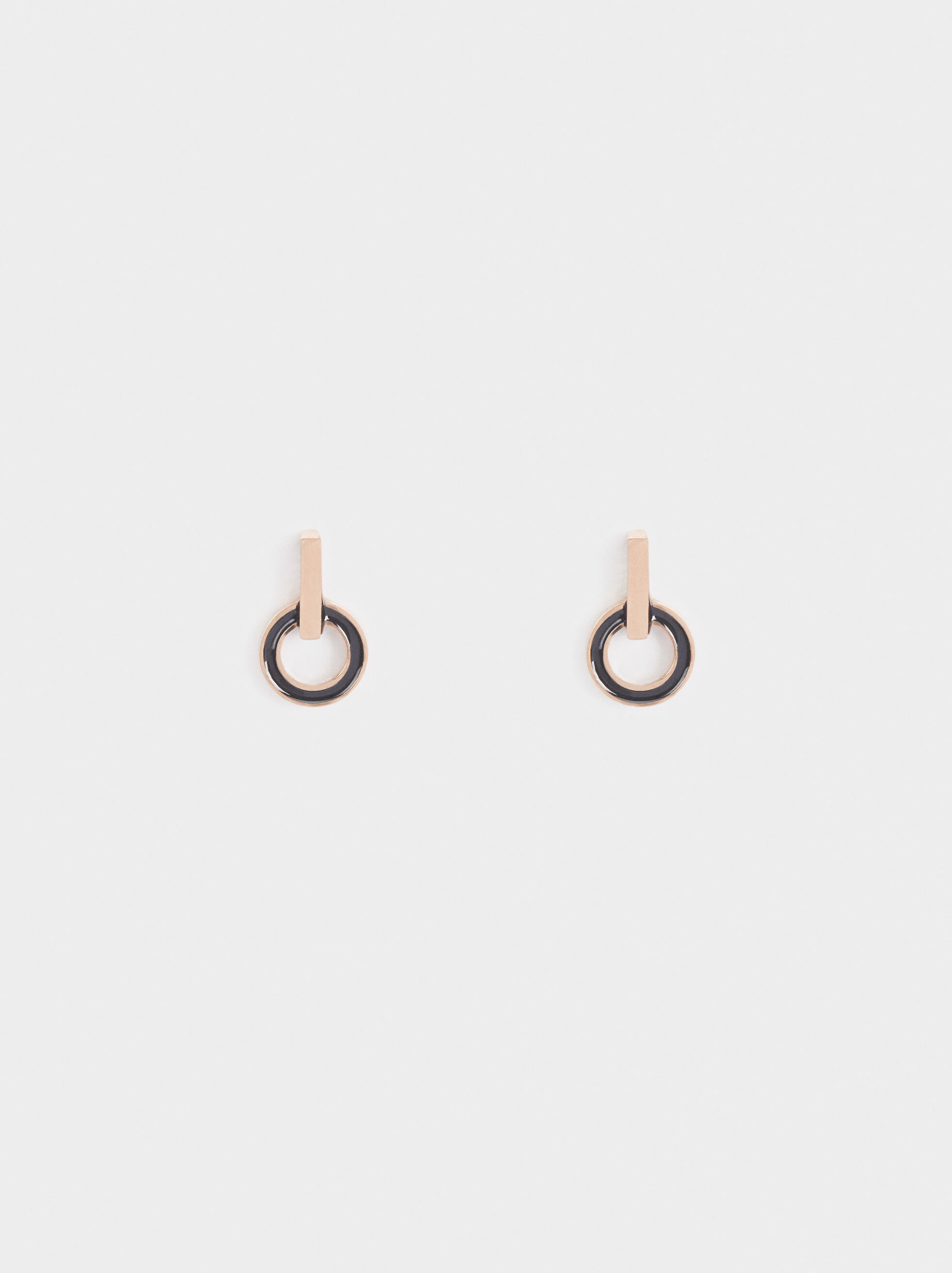 Circular Steel Short Earrings, Orange, hi-res