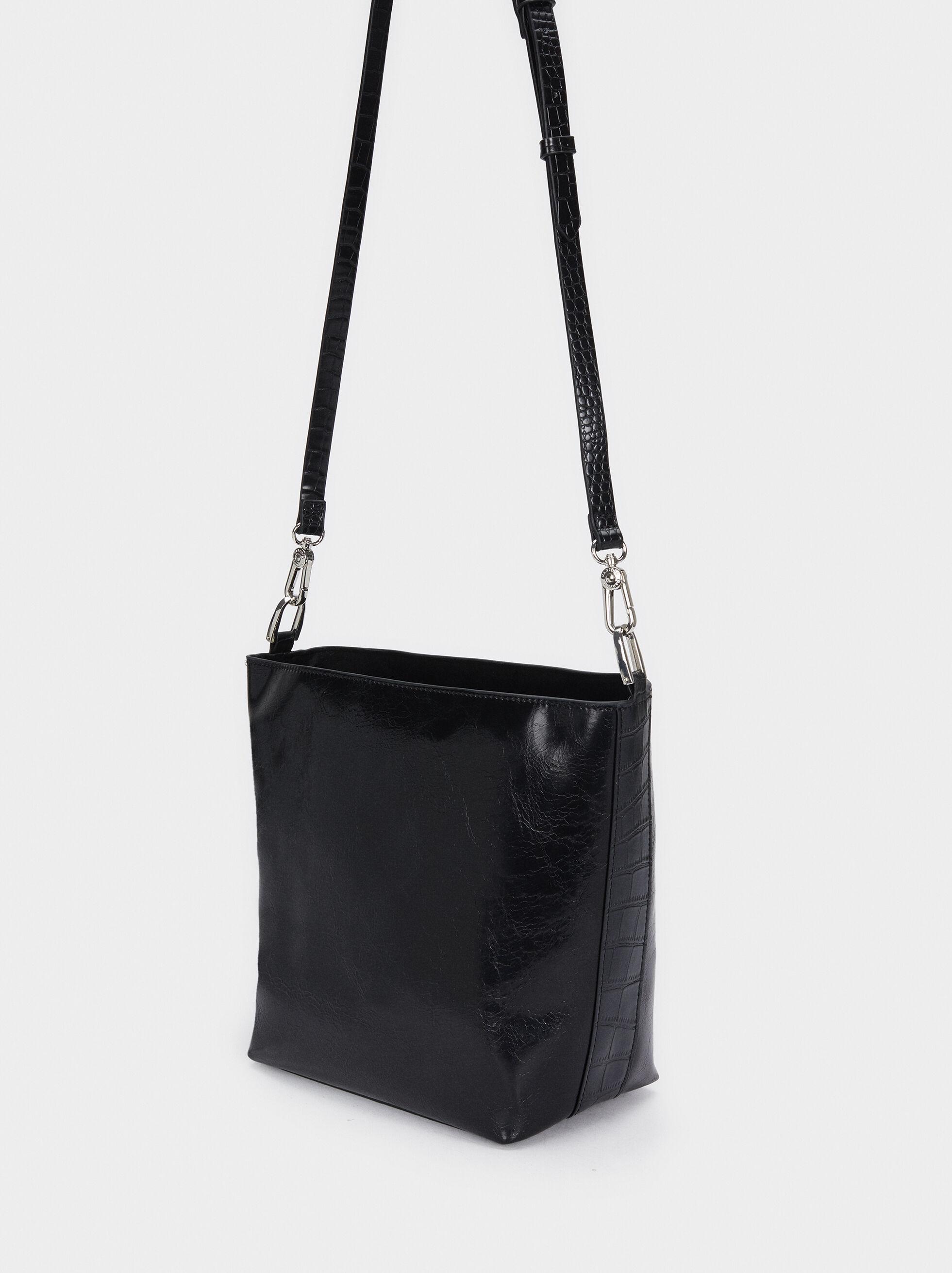 Embossed Snakeskin Detail Shoulder Bag, Black, hi-res
