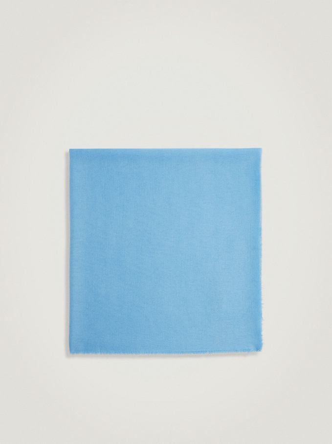 Plain Pashmina Made From Recycled Materials, Blue, hi-res