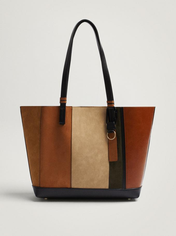 Patchwork Shoulder Bag With Removable Interior, Black, hi-res