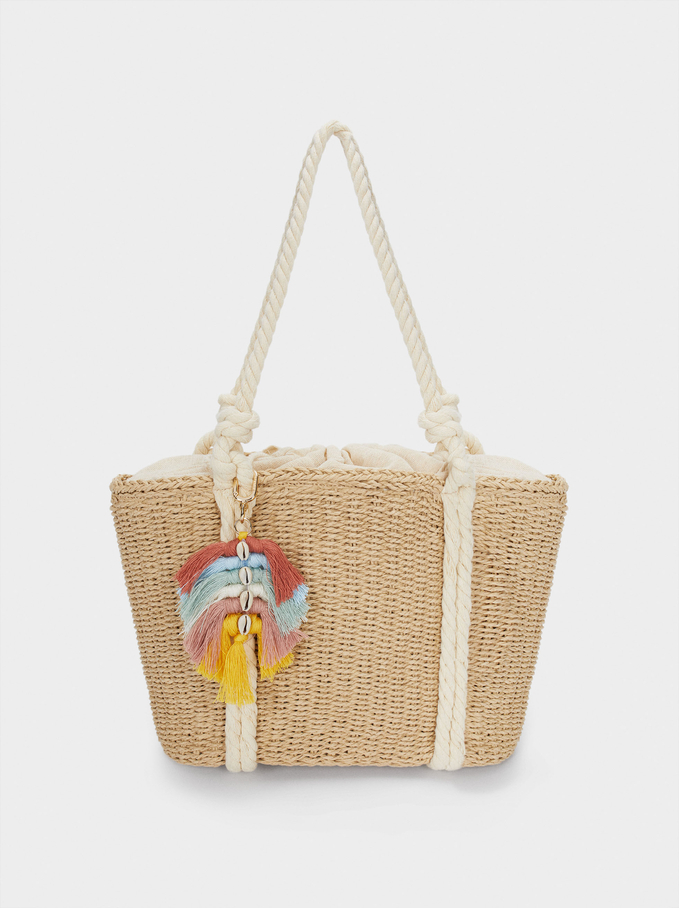 Woven Shopper Bag With Pendant, Ecru, hi-res