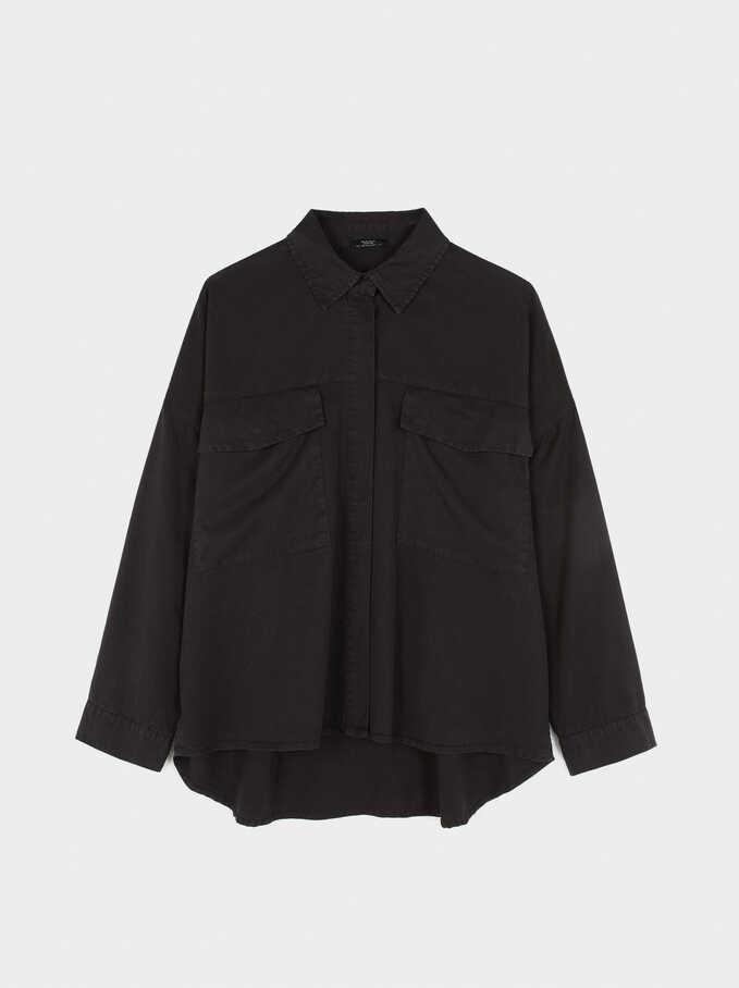 Camisa Oversize Lisa, Negro, hi-res