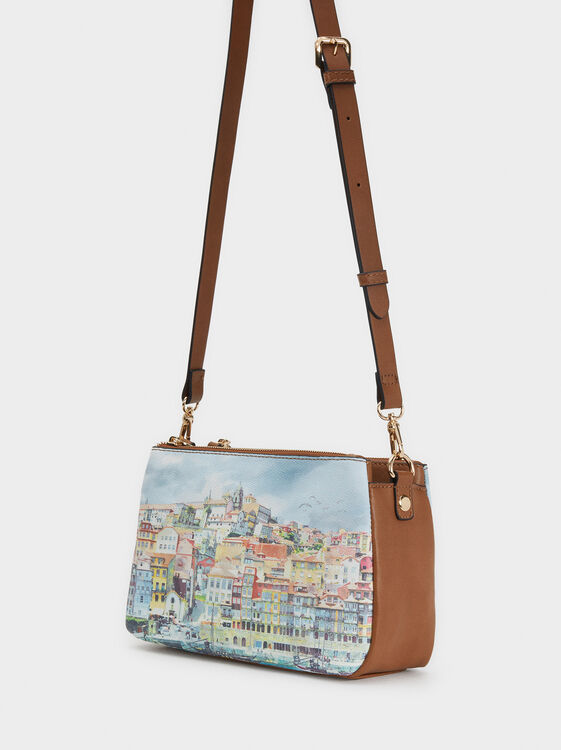 Porto Print Shoulder Bag, Blue, hi-res