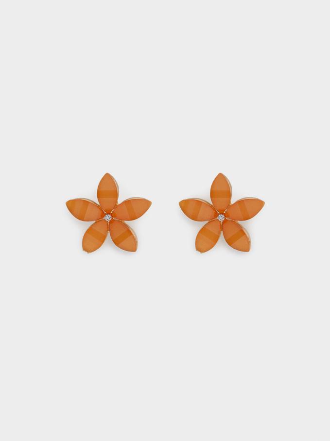 Brincos Curtos Flor Com Cristais, Laranja, hi-res