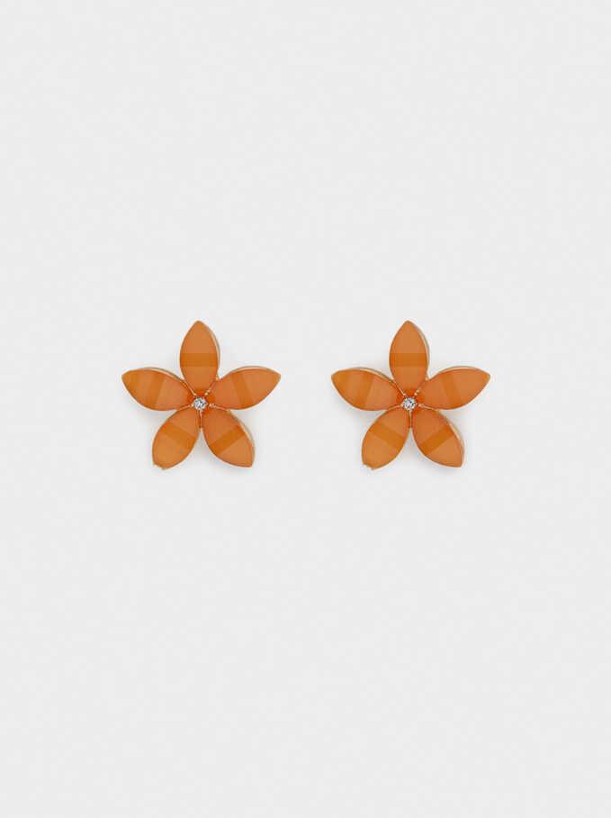 Pendientes Cortos Flor Con Cristales, Naranja, hi-res
