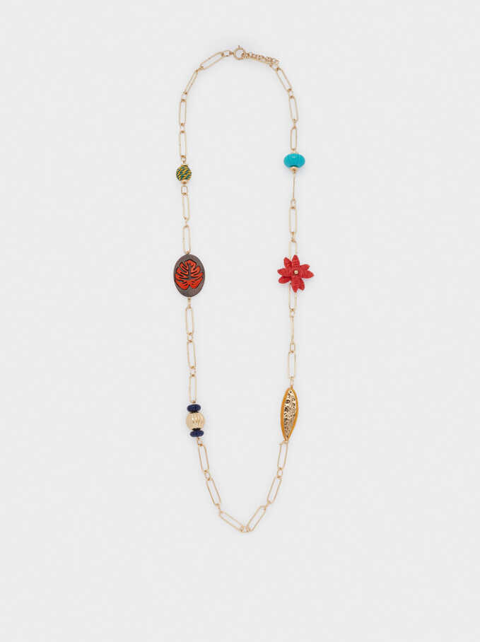 Long Necklace With Pendants, Golden, hi-res
