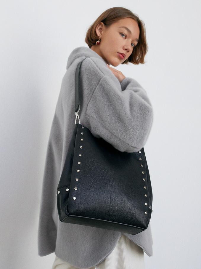Shoulder Bag With Tacks, Black, hi-res