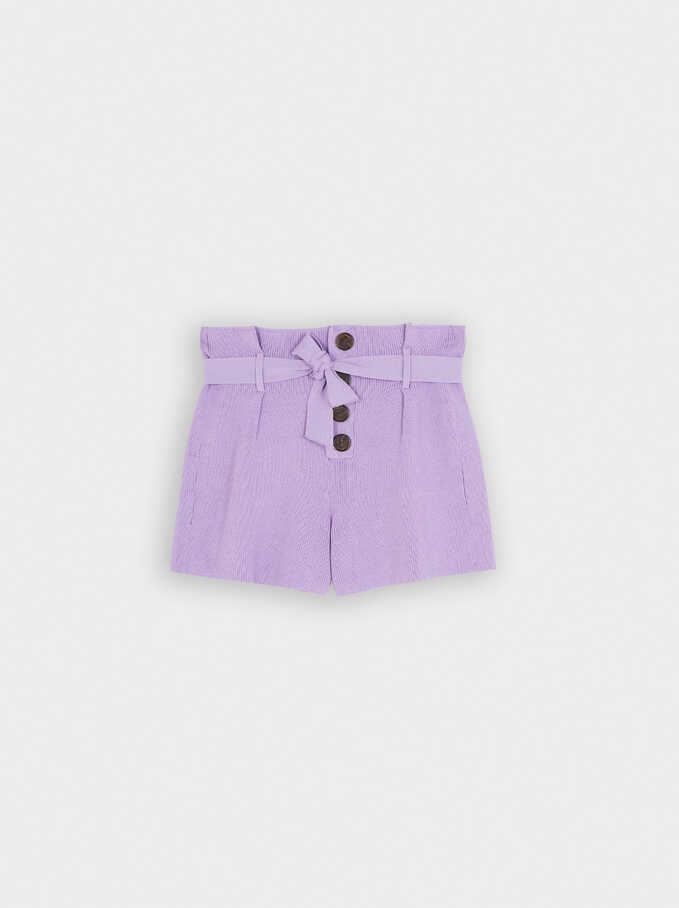 Knit Shorts With Bow And Buttons, Purple, hi-res