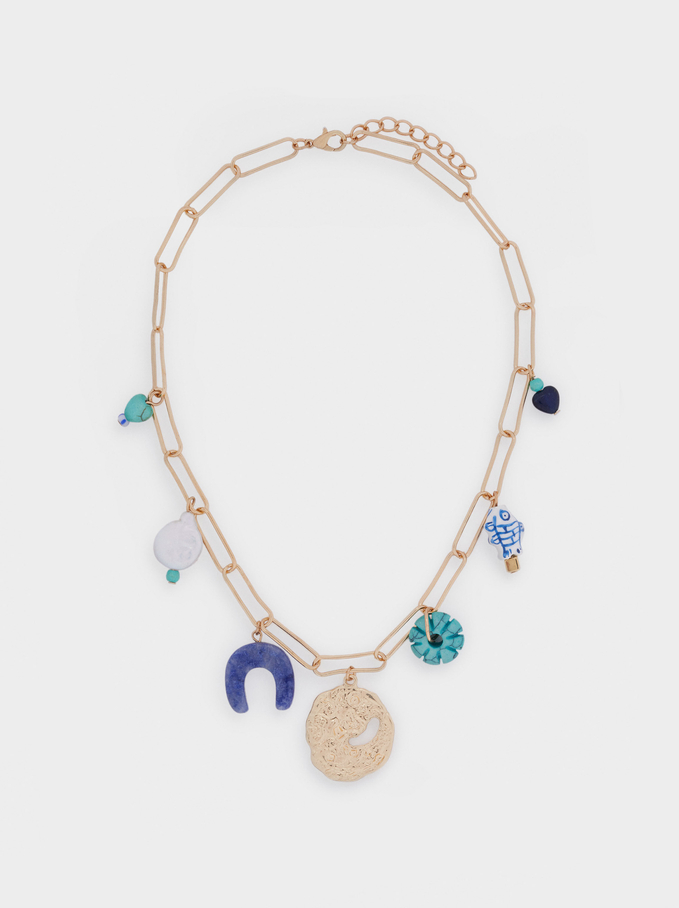 Short Chain Necklace With Charms, Blue, hi-res