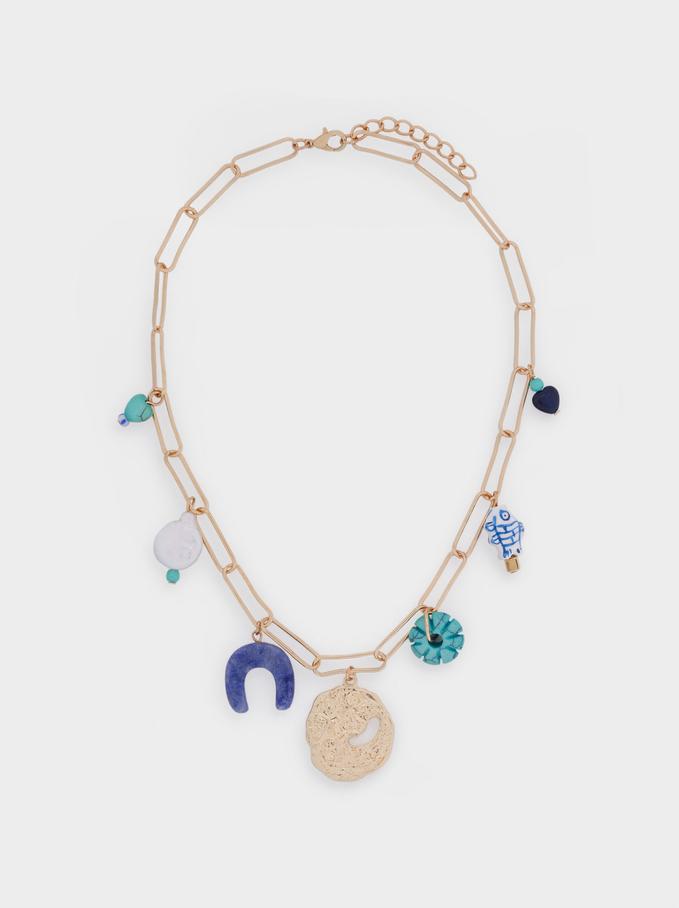 Kurze Halskette Mit Anhänger, Blau, hi-res