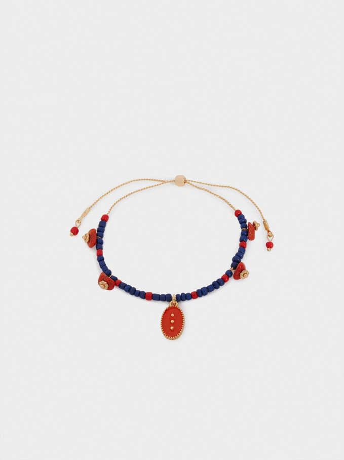 Pulsera Ajustable Con Abalorios, Multicor, hi-res