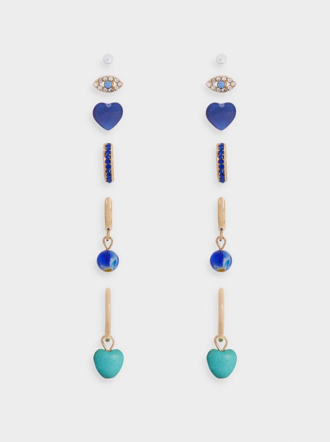 Set Of Hoop Earrings With Eye And Heart, Blue, hi-res