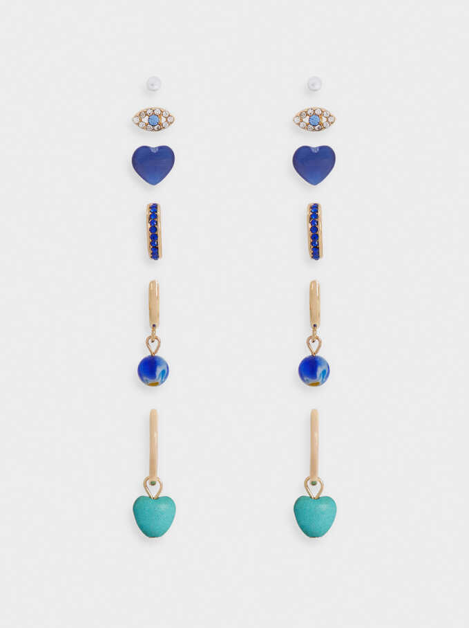 Set Of Hoop Earrings With Eye And Heart, Blue, hi-res