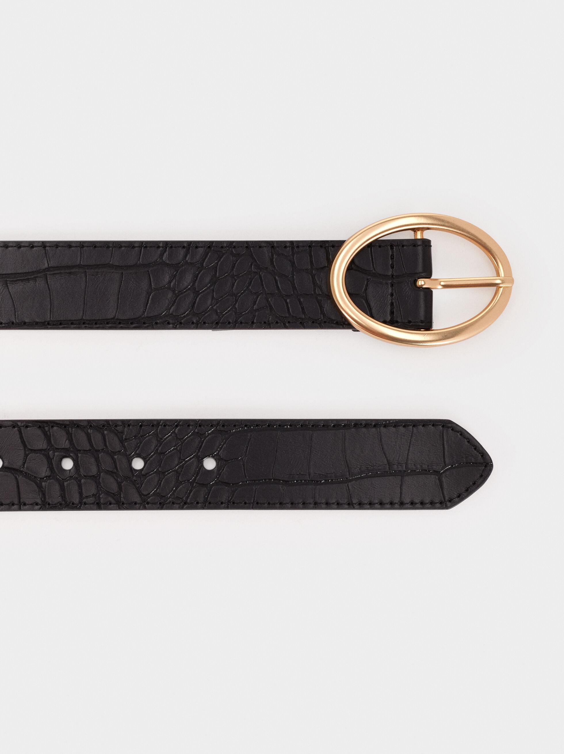 Animal Embossed Belt, Black, hi-res