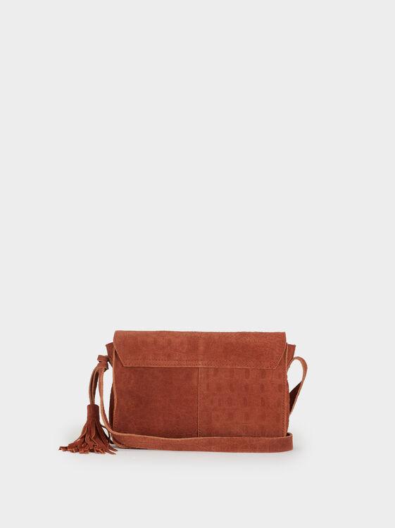 Shammy Leather Crossbody Bag, Orange, hi-res