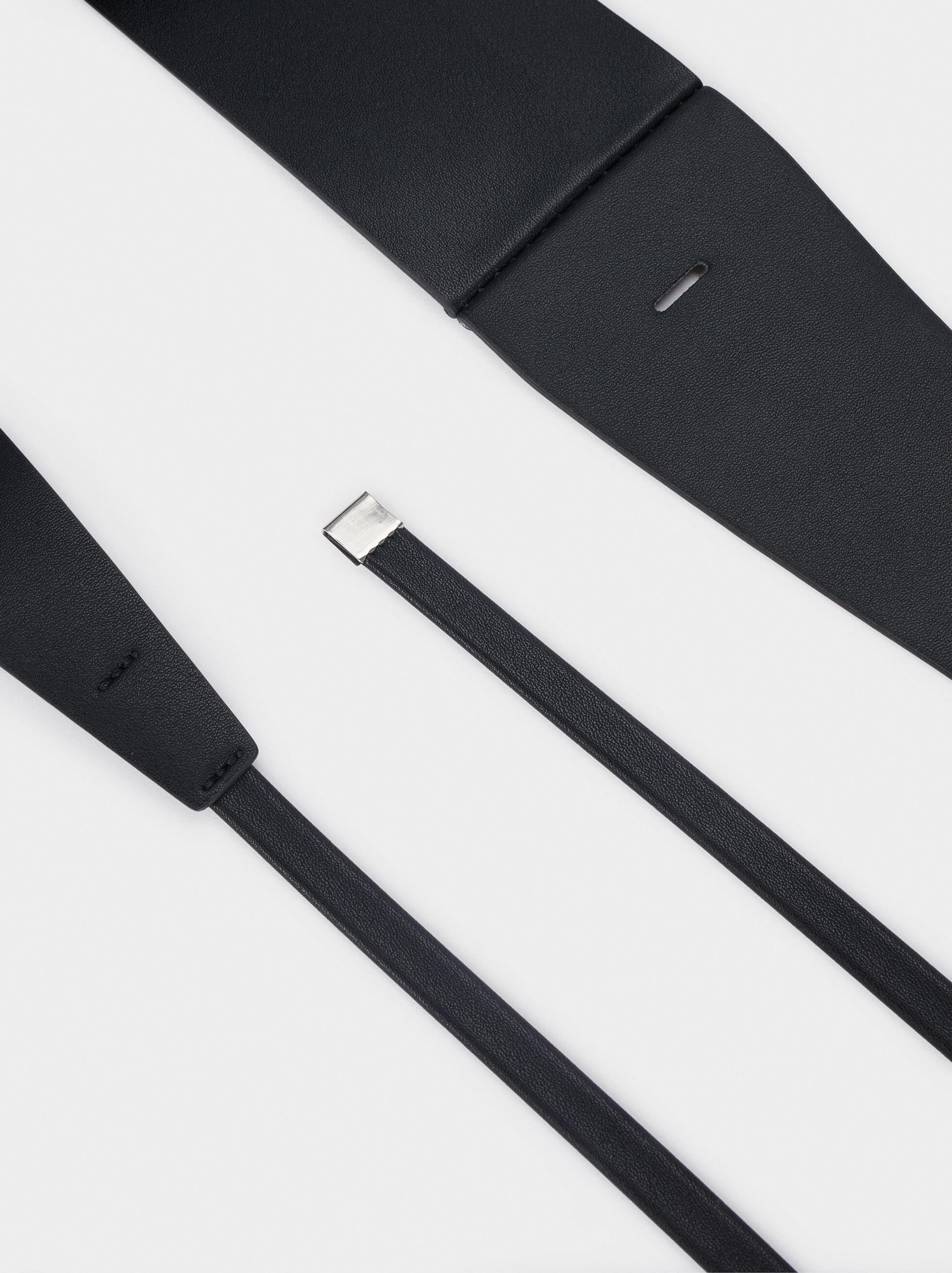 Leather Texture Long Belt, Black, hi-res