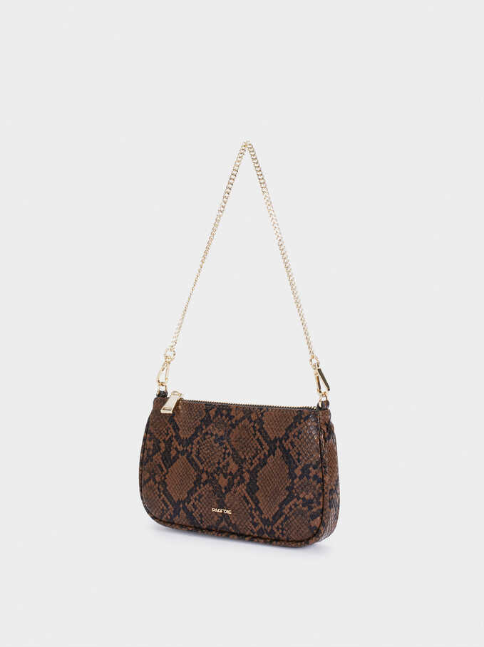 Embossed Animal Print Multi-Purpose Bag With Shoulder Strap, Brown, hi-res