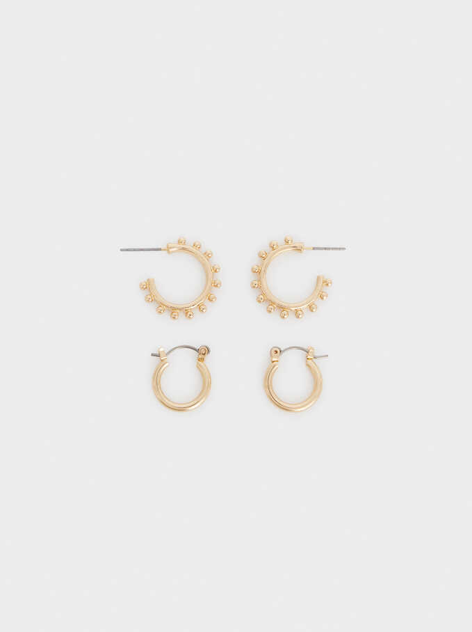 Set Of Hoop Fever Hoop Earrings, Golden, hi-res