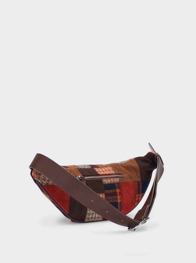 Patchwork Design Crossbody Bag, Brown, hi-res