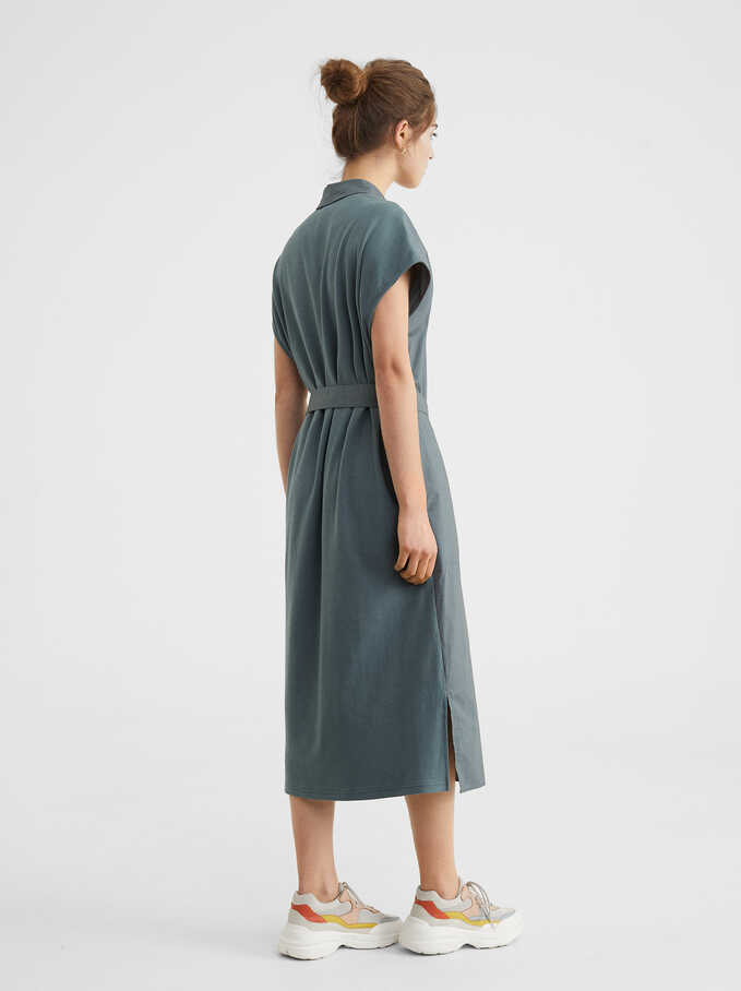 Shirt-Dress With Belt, Green, hi-res