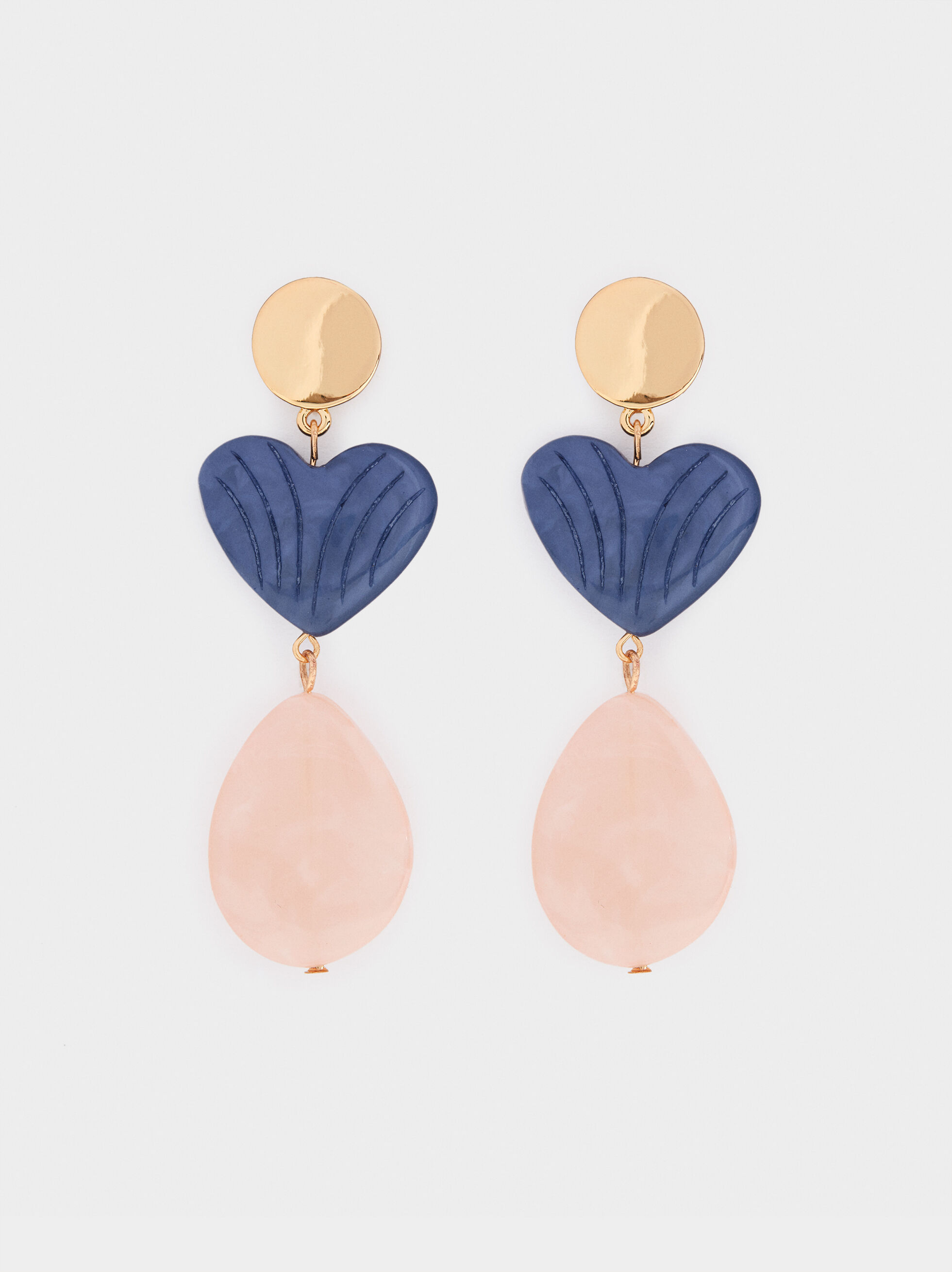 Long Earrings With Hearts , Multicolor, hi-res