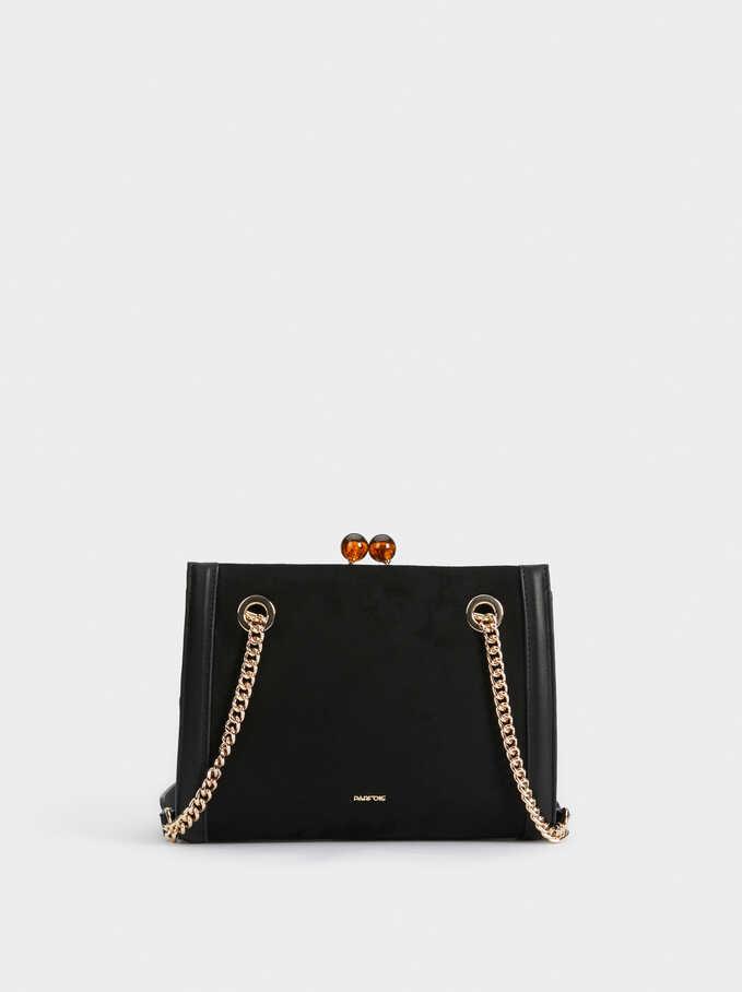 Suede Effect Valerie Cross Bag, Black, hi-res