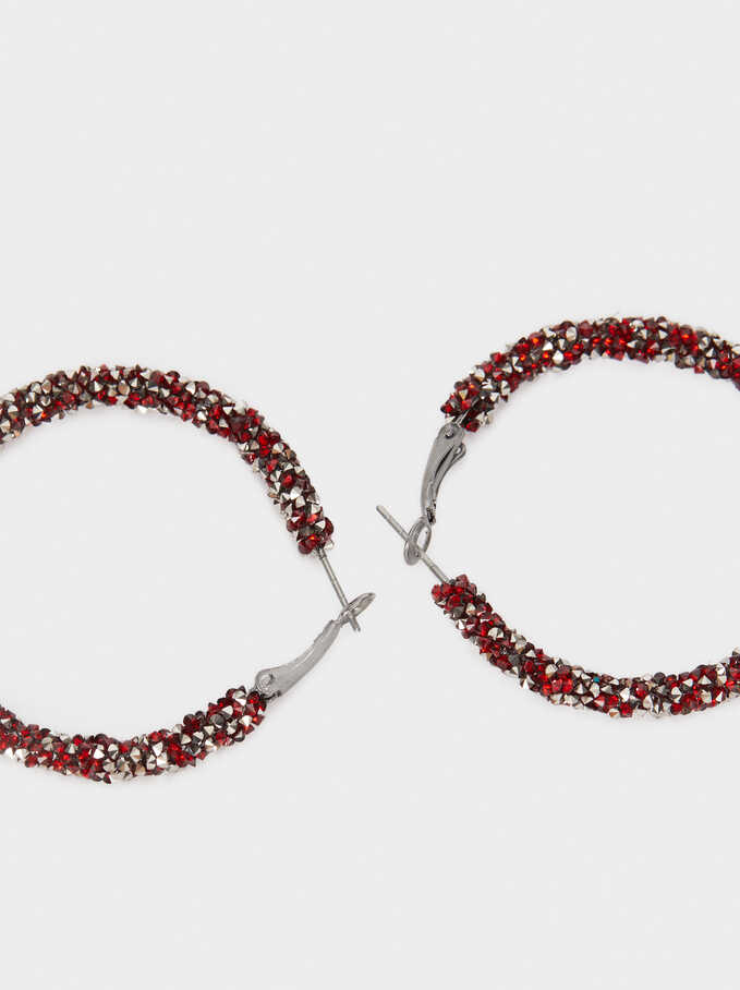 Large Hoop Earrings With Crystals, Bordeaux, hi-res