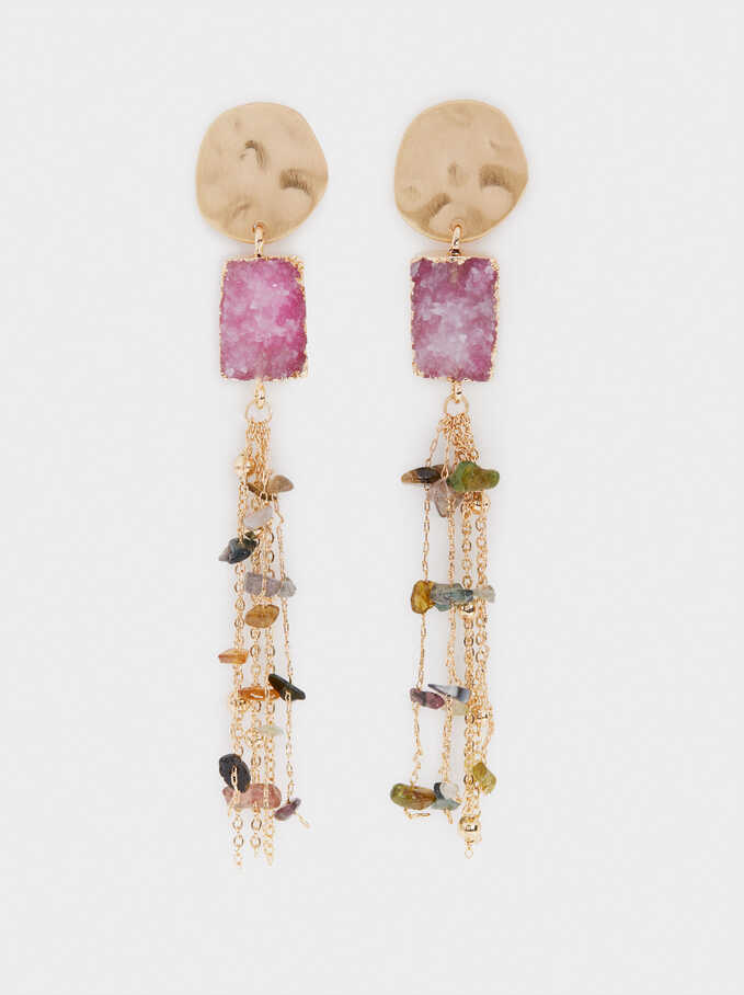 Extra Long Earrings With Stone Pendants, Multicolor, hi-res