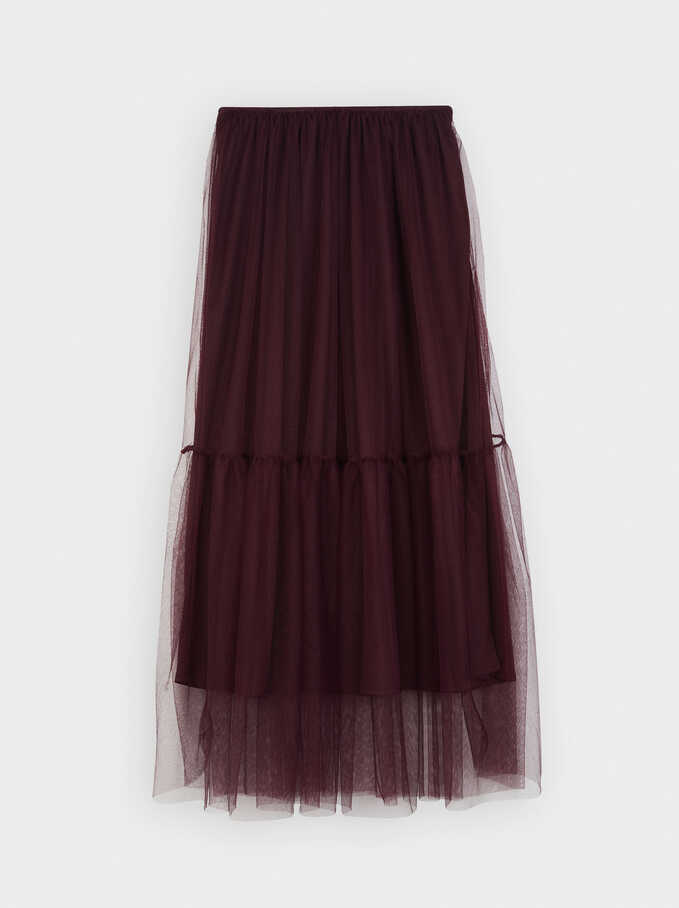Limited Edition Pleated Skirt With An Elastic Waistband, Bordeaux, hi-res