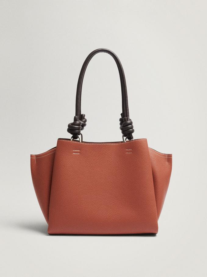 Shoulder Bag With Knotted Handle, Orange, hi-res