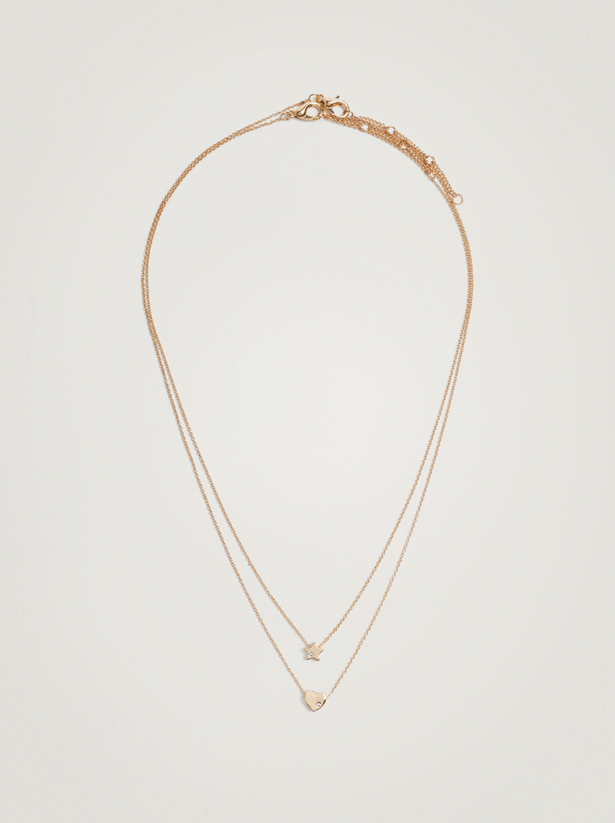 Short Necklace With Charms And Zirconia, Golden, hi-res