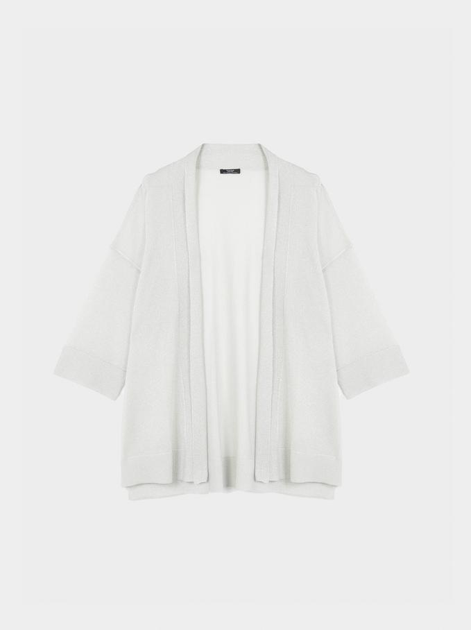 Kimono Ouvert En Maille , Bleu, hi-res