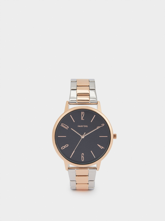 Watch With Two-Toned Steel Strap, Multicolor, hi-res