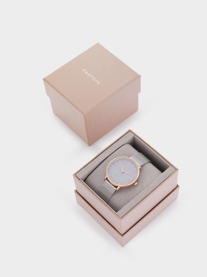 Watch With Metallic Mesh Strap And Shiny Face, Silver, hi-res