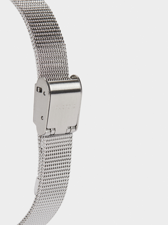Watch With Stainless Steel Metallic Mesh Strap, Grey, hi-res