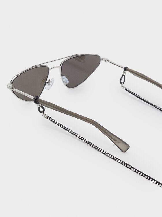 Rhinestone Glasses Chain, Black, hi-res