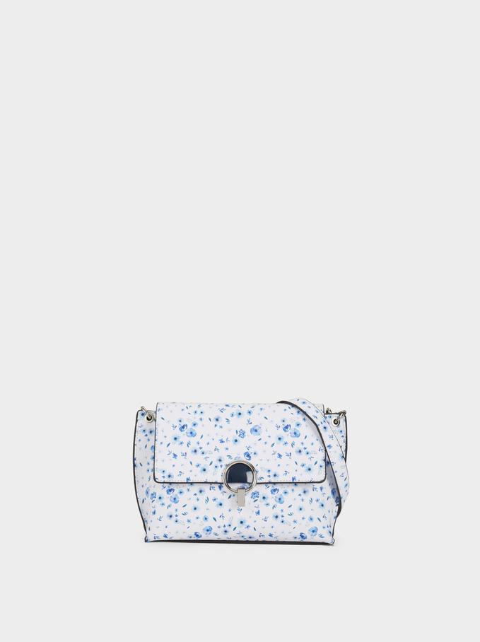 Floral Print Crossbody Bag, Blue, hi-res