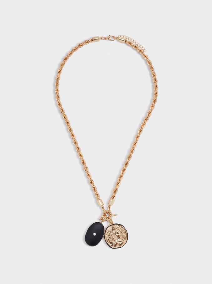 Short Necklace With Pendant, Black, hi-res