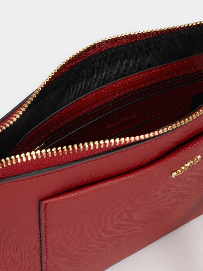 Shoulder Bag With Outer Pocket, Red, hi-res