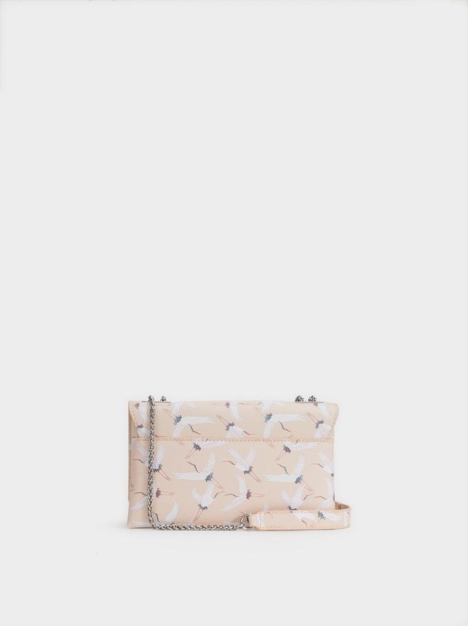 Stork Print Crossbody Bag, Pink, hi-res