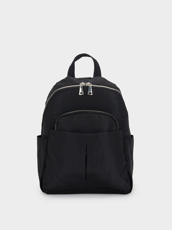 Nylon Backpack With Outer Pockets, , hi-res