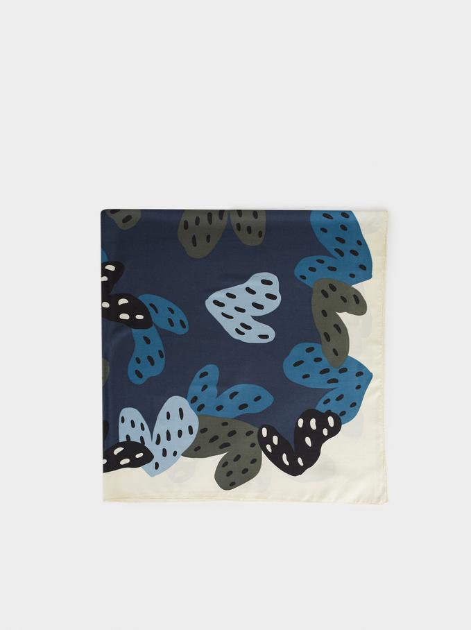 Heart Print Square Scarf, Blue, hi-res