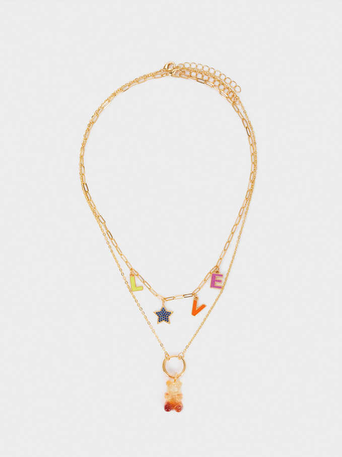 Set Of Love Necklaces With Charms, Multicolor, hi-res