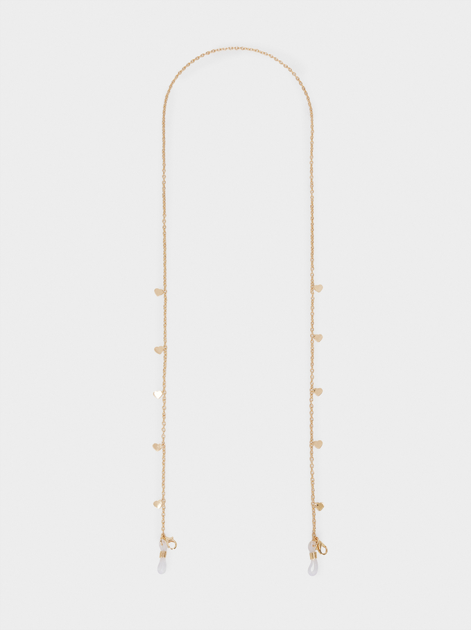 Chain For Sunglasses Or Mask With Hearts, Golden, hi-res