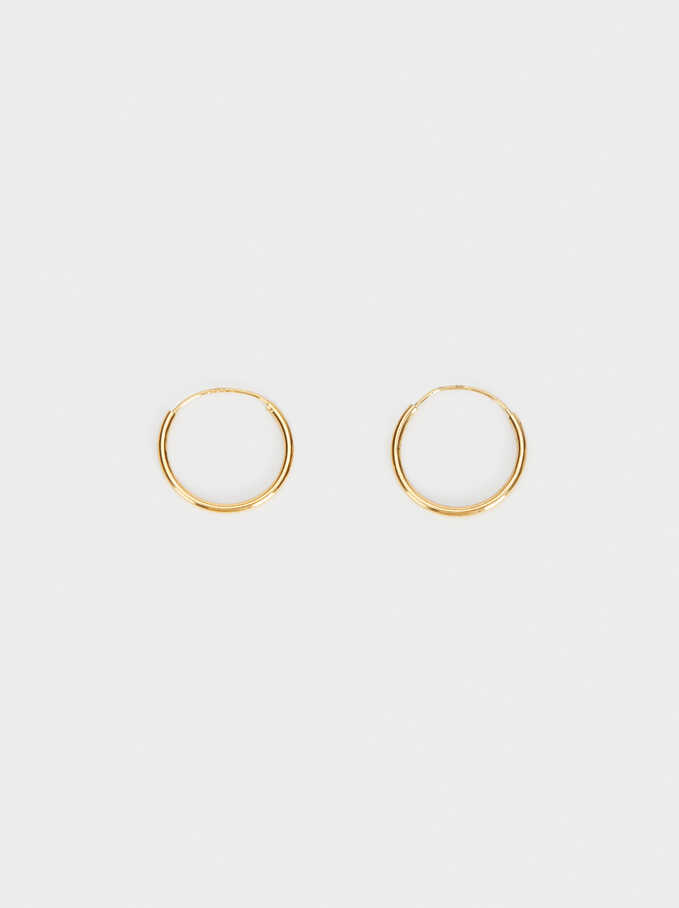 Basic 925 Silver Small Hoop Earrings, Golden, hi-res