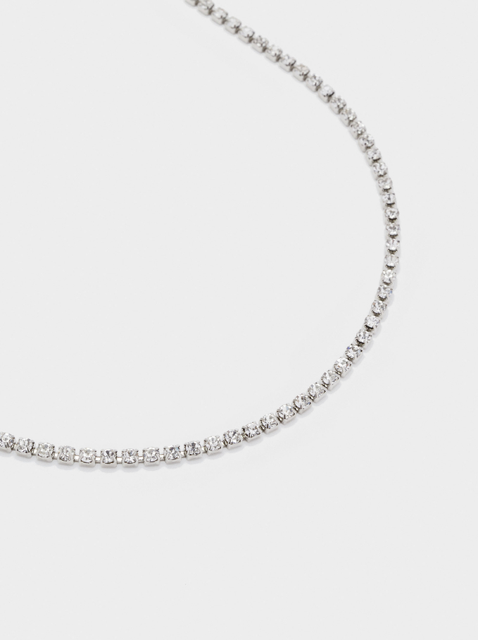 Short Chain Necklace With Crystals, Silver, hi-res