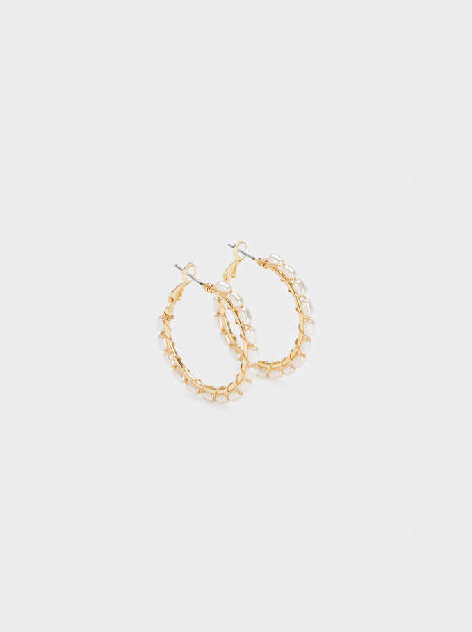 Medium Gold Hoop Earrings With Faux Pearl Detail, Golden, hi-res