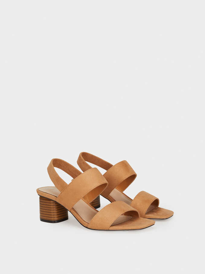Mid-Heel Sandals With Elasticated Straps, Pink, hi-res